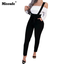 Missufe 2019 Fashion New Spring/Autumn Womens Black Pants Slim Removable Strap Bandage Female Casual Trousers