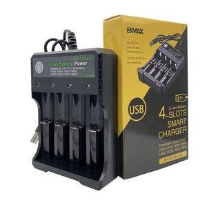 Новый оригинальный BMAX 3,7 V 4 слота USB Перезаряжаемый Аккумулятор Зарядное устройство s 18650 26650 18350 16340 18500 14500 литиевая батарея Зарядное устройст...