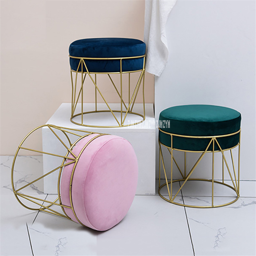 QZ-012 Modern Simple Living Room Flannel Change Shoe Stool Fashion Sofa Footstool Iron Clothes Shop Rest Makeup Round Low Stool