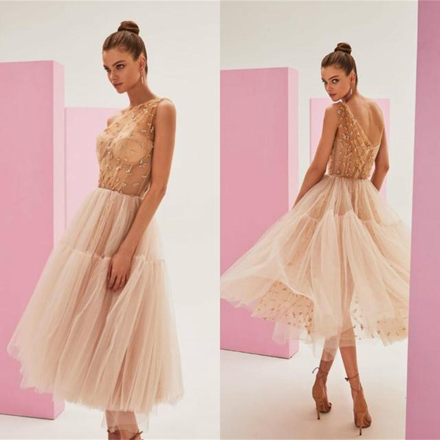 Champagne Cheap Cocktail Dresses One Shoulder Tulle Tea Length Prom Party Dress Beading Custom Made Homecoming Gowns