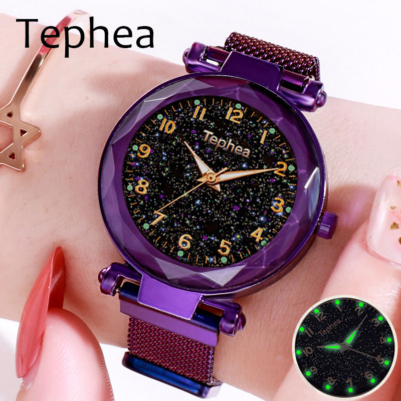 Luxury Luminous Women Watches Starry Sky Magnetic Female Clock Wrist Watches Waterproof Rhinestone Relogio Feminino Montre Femme