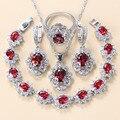 Frauen Hochzeit Schmuck Sets 925 Silber Braut Zubehör Rot Granat CZ Ohrringe Anhänger Halskette Armband Und Ring Geschenk Sets