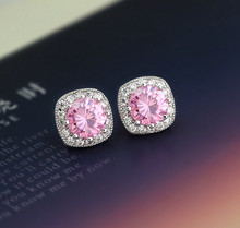+++503 Pink zircon crystal earrings Japan and South Korea sweet temperament Earrings Jewelry birthday gift(China)