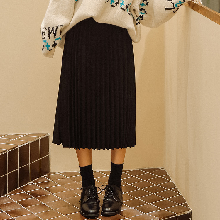 College Style Ulzzang Pleated Skirt Women's New Style Mid-length High-waisted Loose-Fit Students A- Line Skirt