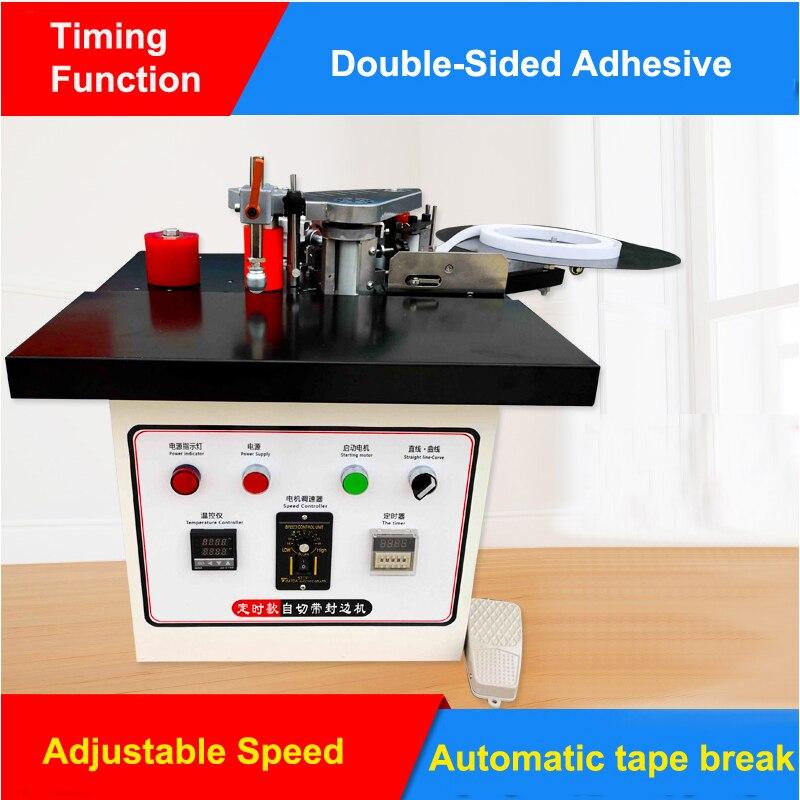 Woodworking Edge Banding Machine Speed Control Mini Manual Wood Cutting Pvc Curved Straight Edge Machine Automatic Broken Belt