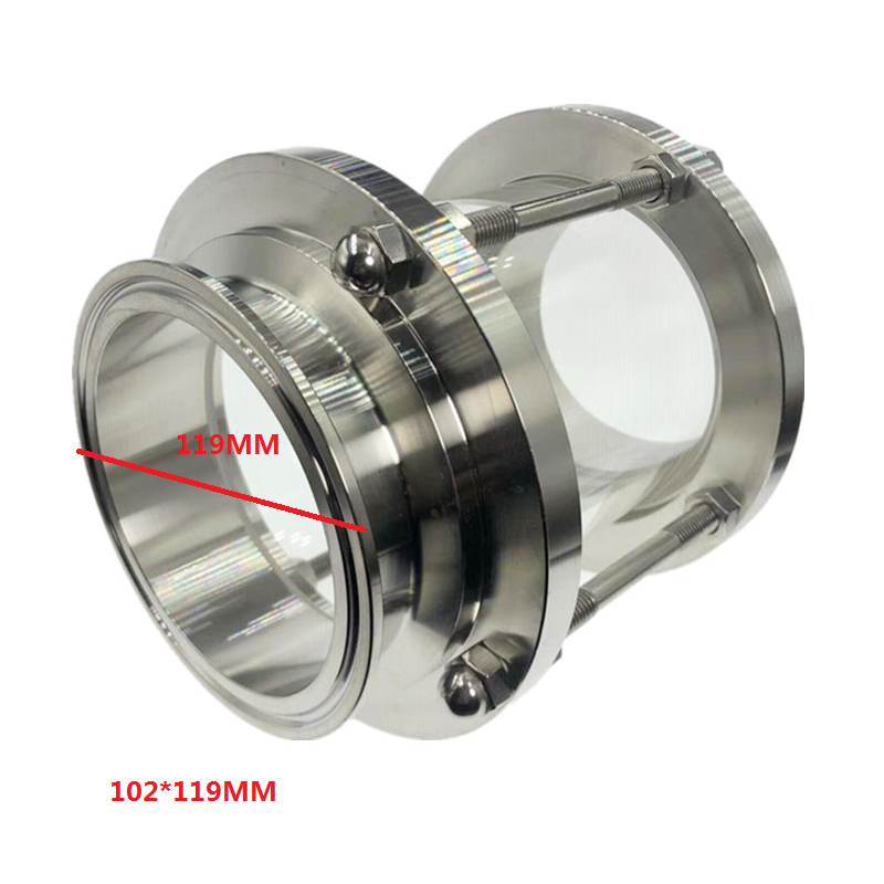 """4"""" Tri Clamp Clover Sanitay Flow Sight Glass Diopter Fit 102mm*119mm Pipe OD SUS 304 Stainless Steel Fitting Homebrew  Product"""