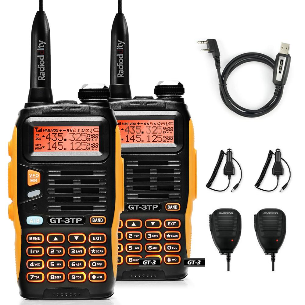 2pcs Baofeng GT-3TP MarkIII VHF/UHF Dual Power Dual Band Ham Long Range Walkie Talkie Two Way Radio With 2x Speaker 1x Cable FM