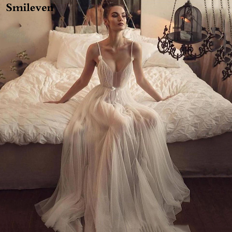 Smileven Boho Wedding Dress Robe De Mariee Sexy Bridal Dresses Spaghetti Strap Wedding Dress