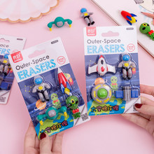 Gommes de l'espace Non PVC 4 pièces, Mini fusée astronaute Alien, gommes en caoutchouc pour crayon enfants écolier cadeau A6389