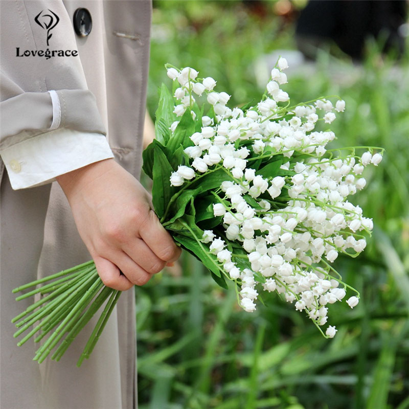 Lovegrace 3pcs Lily Of The Valley Bouquet Bridesmaid Flower Bunch Bridal Wedding Flower Convallaria DIY Wedding Decor Wholesale