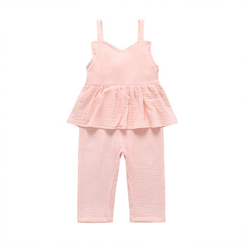 Summer Toddler Overalls Cotton Linen Kids Girls Fashion Children Clothes Sleeveless Baby Clothing 1-5 Years
