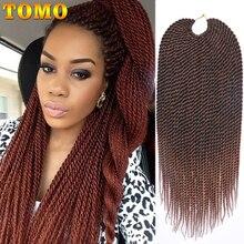 TOMO, 14, 16, 18, 20, 22 дюйма, 30 корней/упаковка, косы с крючком, 16 цветов, синтетические Сенегальские плетеные волосы, вязанные волосы для наращивания