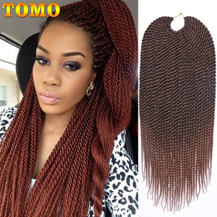 TOMO 14 16 18 20 22Inch 30Roots/Pack Crotchet Braids 16 Colors Synthetic Senegalese Twist Braiding Hair Crochet Hair Extensions