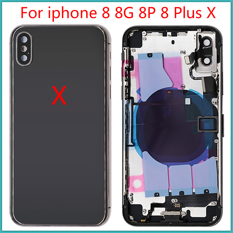 AAA+++ Quality For Iphone 8 8G 8P 8 Plus X Battery Back Cover Door Rear Cover + Middle Frame Chassis With Flex Cable