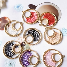 diy jewelry round color rope connection  Metal  Earring Settings jewelry supplies  earring findings  4pcs