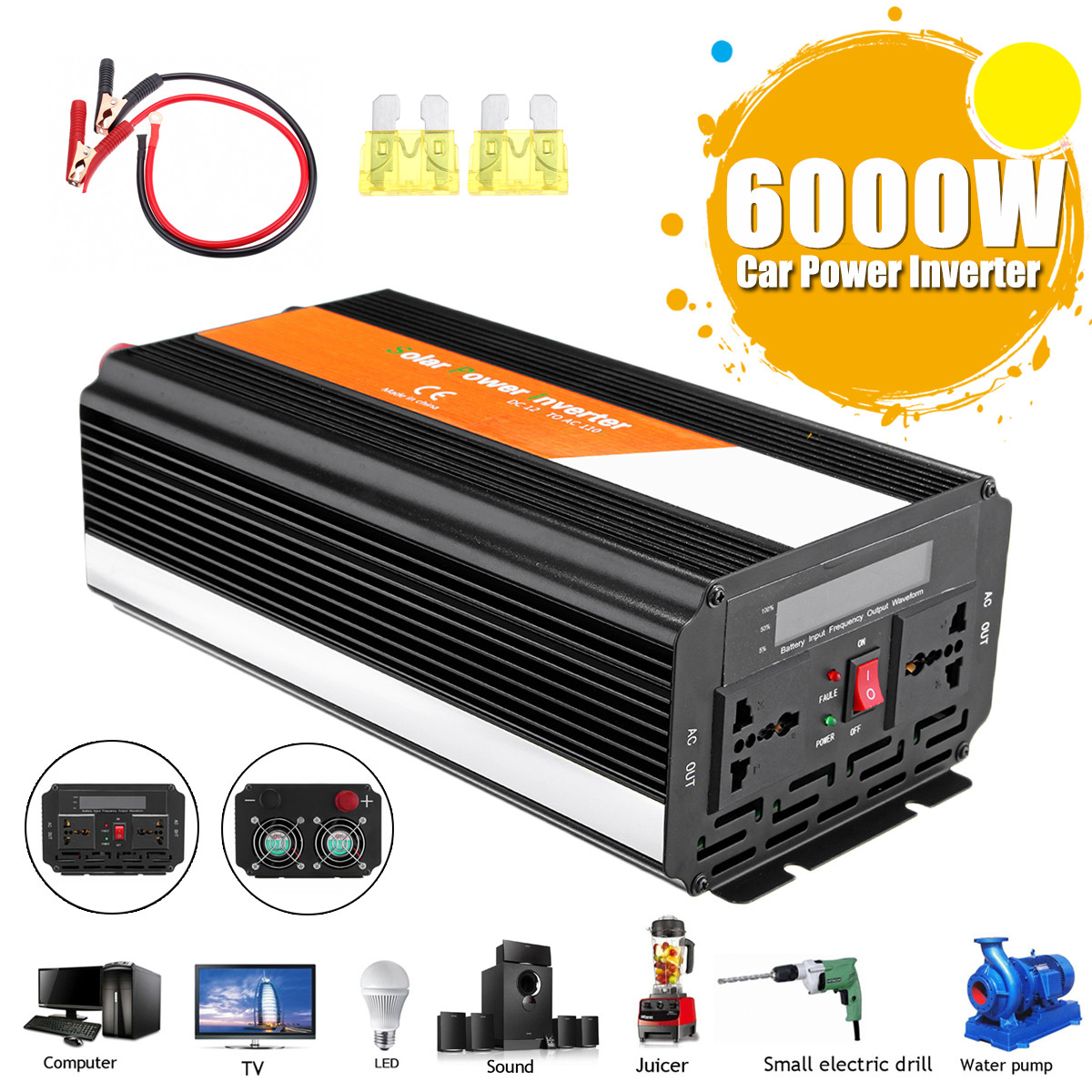 Car Inverter DC 12V AC 200-240V 6000W Peak- Modified Sine Wave Converter Power Voltage Transformer + LCD Display Aluminum Alloy