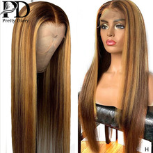 Glueless Lace Front Human Hair Wig Straight Highlight Ombre Hair Pre Plucked Hair Line Bleached Knots Brazilian Remy Hair Wigs