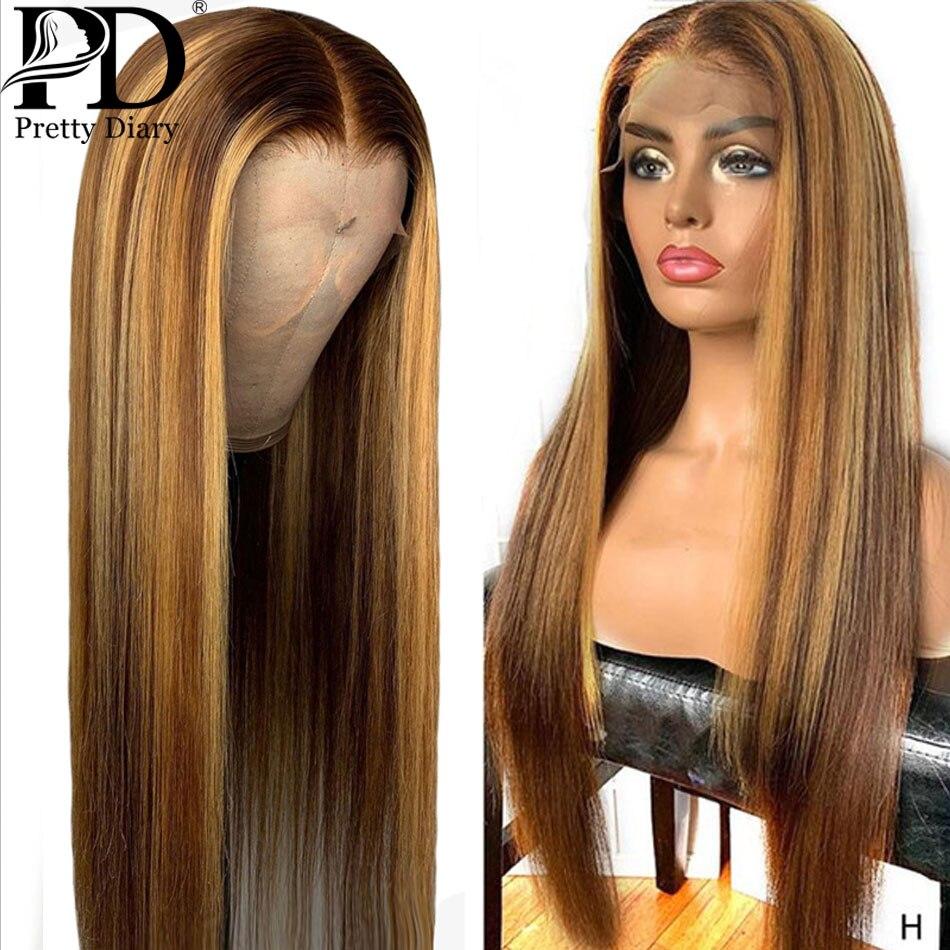 Glueless frente do laço peruca de cabelo humano reta destaque ombre cabelo pré arrancado linha do cabelo descorado nós brasileiro remy perucas de cabelo