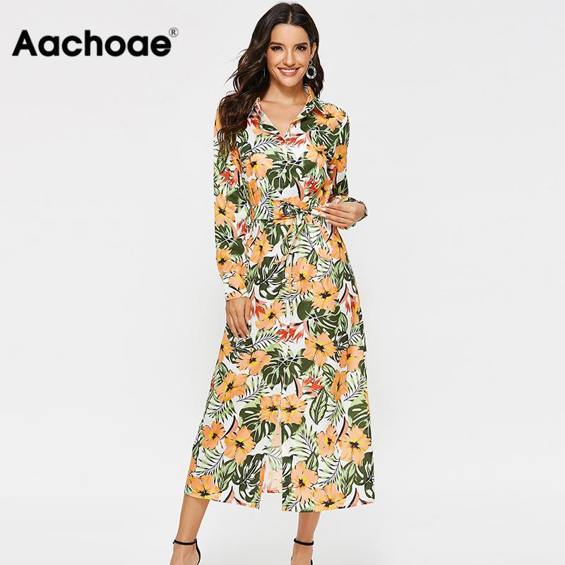 Dress Women Vintage Floral Print Casual Turn Down Collar Shirt Dress Long Sleeve Elegant Sashes Office Dresses Autumn Long Dress