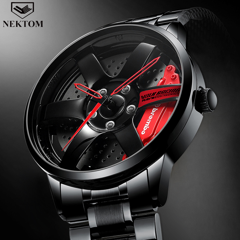 NEKTOM גברים שפת רכזת שעון מותאם אישית עיצוב רכב שעון יד נירוסטה מותאם אישית לא הדפסת גלגל שפת רכזת שעוני גבר