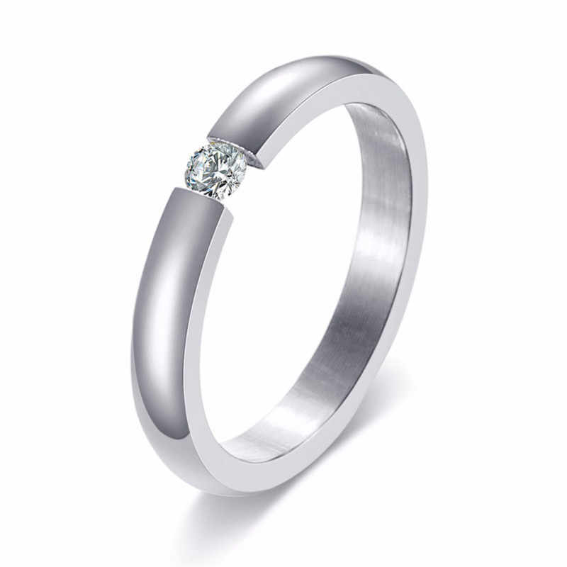 ZORCVENS สีสแตนเลสเหล็กงานแต่งงานสำหรับผู้หญิงผู้ชายวง Cz หมั้นแหวน