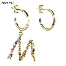 ANDYWEN 925 srebro złoto M S list spadek kolczyki obręcze kolorowe początkowe alfabet kolczyk 2020 Rainbow kobiety biżuteria