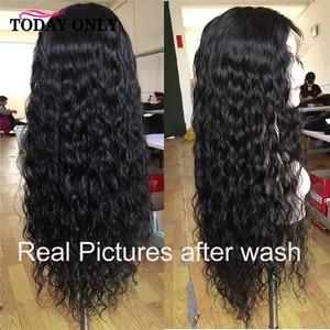 Pelucas de cabello humano Frontal con onda de encaje agua pelucas con minimechones 360 peluca Frontal de encaje 13x4 línea de pelo Natural Remy