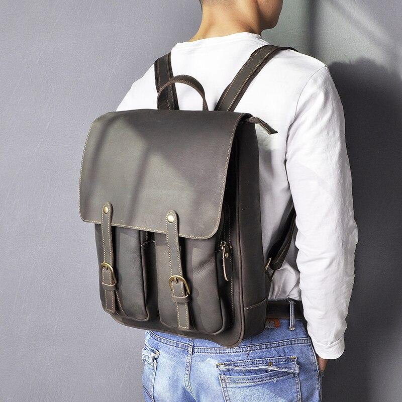 Кожаный мужской рюкзак BOSTANTEN, большие дорожные рюкзаки, школьный бизнес рюкзак 13 14 15 дюймов, рюкзак для ноутбука, сумка для компьютера с защи... - 5