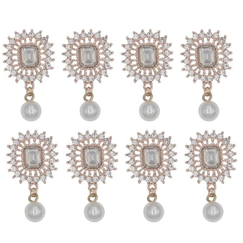 Rhinestone Corsages Wedding Flower Accessories Boutonniere With Pearl Decoration For Mariage Bride Brooch Accessories 10pcs/lot