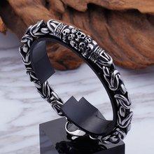 Men Skeleton Punk Bracelet High Quality Metal Braided Bracelet