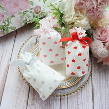12*17cm 50pcs Small Red Pink Heart Bag with Ribbon Cookie Snacks Gift Packaging Party Birthday Wedding Favor Decoration