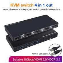 Interruptor KVM 4 en 1 de alta calidad, conmutador compatible con HDMI, conector USB para ordenador portátil, para PS4, PS3, Nintendo Switch
