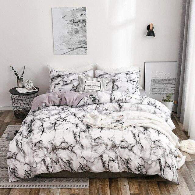 Bedding Set Marbled White
