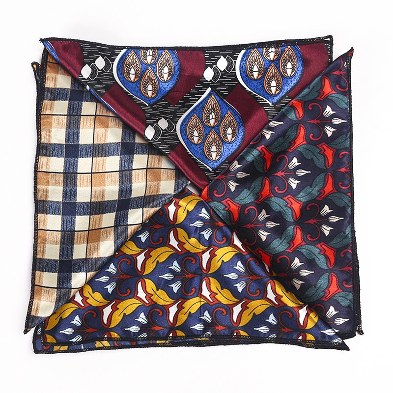 Silk-printed Pocket Scarf European Court Satin Retro Floral Men's Square Handkerchief Suit Pocket Scarf