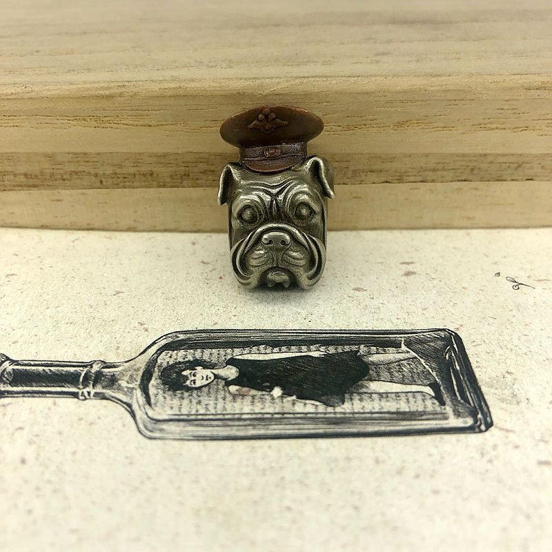 A73 Knife Beads Alpha Dog Head Brassy EDC Copper Cool for Knife Umbrella Lanyard Flashlight Knuckles Rope Tool DIY image