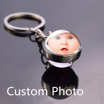 Crystal Ball Keychain Custom Logo Photo Glass Personalized Wedding Key Chain Ring Diy Keyring Christmas Gifts