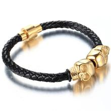 Fashion Braided Leather Bracelets  Punk Wrap Gold Color Skull Bracelet Stainless Steel Magnetic Buckle Bangles