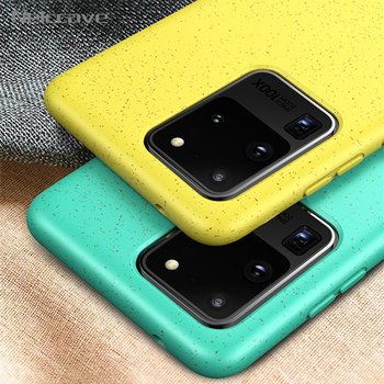 10Pcs Eco-Friendly Silicone Case For Samsung S20 Ultra S10 Plus S10e Note 10 Pro For Huawei P30 Lite Soft TPU Wheat Straw Cover