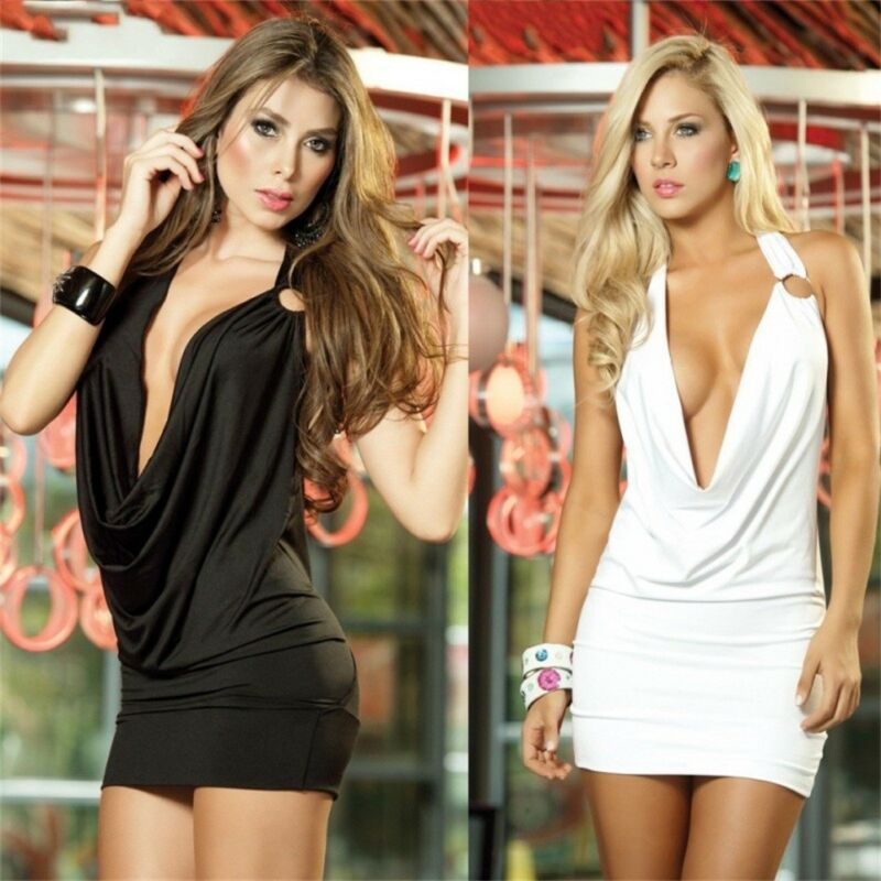 Sexy Dress Women Backless Deep V Dress Bodycon Clubwear Party Cocktail Mini Dress 3FS