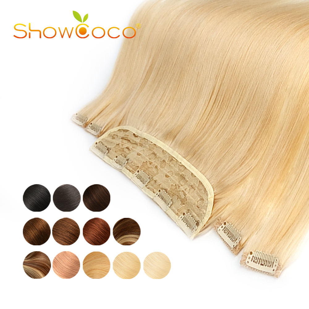 Clip In Hair Extensions Human Hair Non-Remy Silky Straight Hair Clip 14-24 Inch one large Piece with 4 small pieces Clip-On Hair