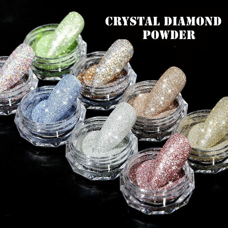 1g/box Sparkly Nail Crystal Diamond Powder New Laser Burst Flash Sugar Diamond Woolen Glitter DIY Nail Art Decorations 3d Charms