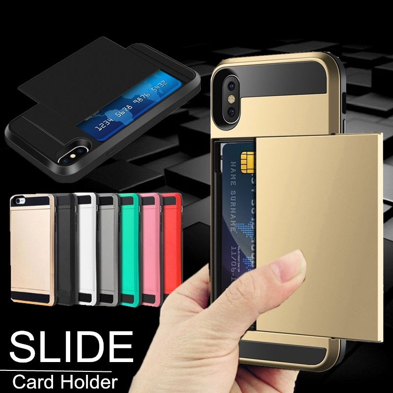 Nuevo Hybrid Tough Capa Case para iphone 5 5S SE 6 6S 7 8 Plus Slider Card Holder Wallet Armor Phone Back Cover para iphone X XS Max