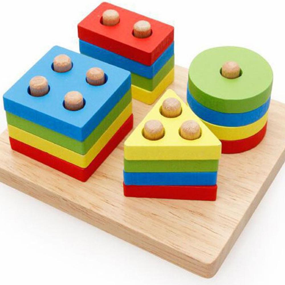 Children Multicolour Learning Wooden Pole Geometry Shape Intelligence Math Educational Toys For Kids Gift