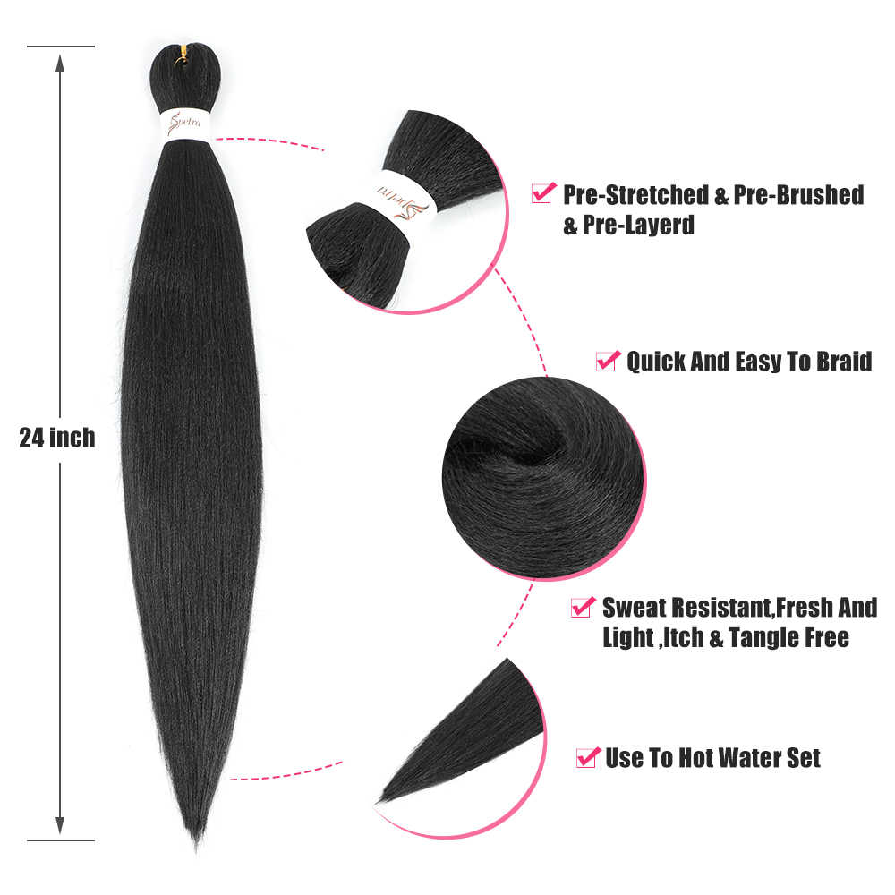 Ombre Rambut Mengepang Ekstensi Mudah Crochet Braid Rambut Bundel Yaki Lurus SOKU Digunakan Membentang Sintetis Jumbo Kotak Kepang Rambut