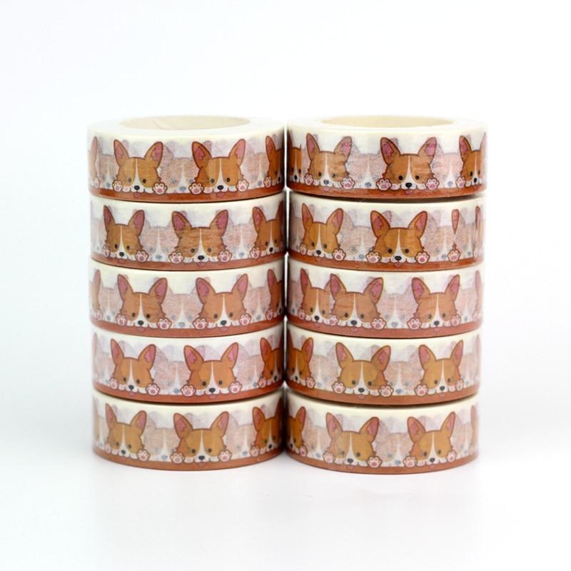 Wholesale 10pcs/lot Decorative Cute Corgi Dog Washi Tapes DIY Scrapbooking Planner Adhesive Masking Tapes Kawaii Stationery