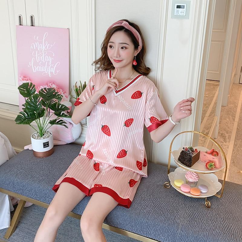 Women Home Clothes 2020 Summer Silk Pajamas Set for Women Print V Neck Short Pant Luxury Sexy Women Sleepwear Set