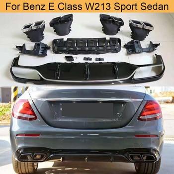 PP Rear Bumper Diffuser for Mercedes Benz E Class W213 Sport E43 AMG Sedan 2017-2019 Rear Diffuser Lip Spoiler with Exhaust Tips