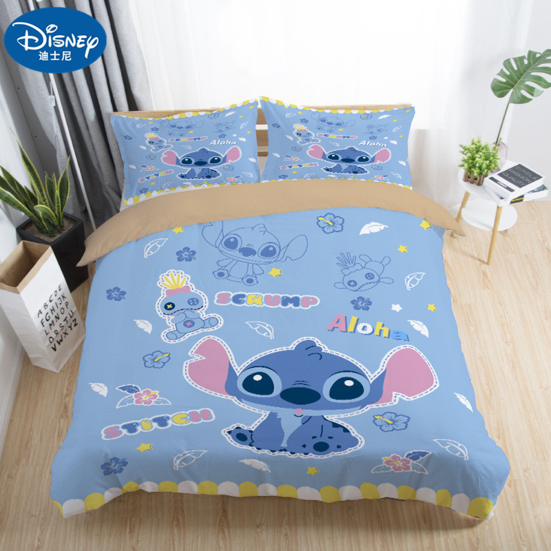2019 New Disney Stitch Bedding Set Home textile Cartoon Single Twin Full Queen King Size Bedclothes Children's Boy Girl Bedroom