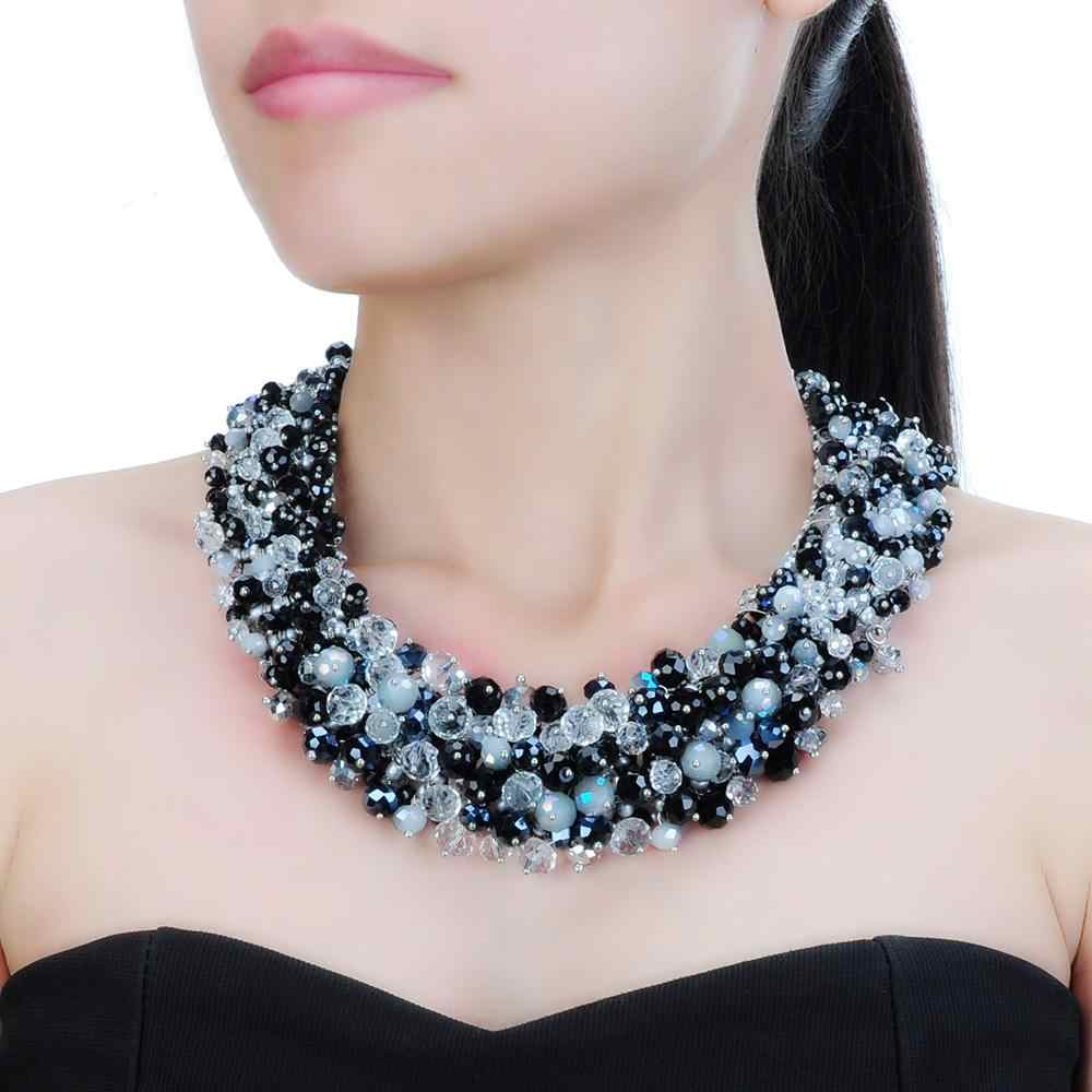 3 Colors Fashion Jewelry Chain Rhinestone Crystal Choker Statement Bib Necklace Big Choker Women Party Accessories Lady Gift