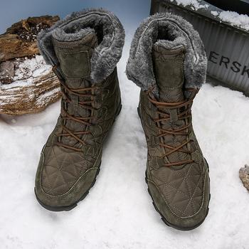 Męskie zimowe ciepłe futro pluszowy zamsz skóra i wodoodporna tkanina kostki zimowe męskie wysokie góry guma antypoślizgowa buty robocze bhp tanie i dobre opinie Fine Zero Buty śniegu CN (pochodzenie) Skóra Split ANKLE GEOMETRIC Dla dorosłych Okrągły nosek RUBBER Zima Mieszkanie (≤1cm)